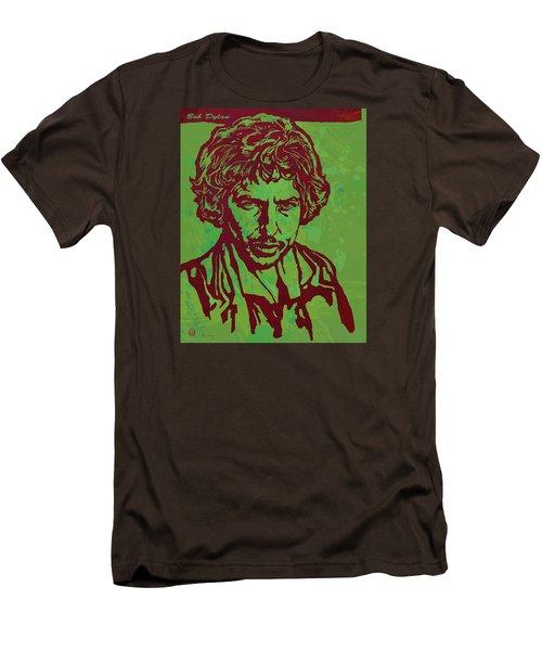 Bob Dylan Pop Art Poser Men's T-Shirt (Slim Fit) by Kim Wang
