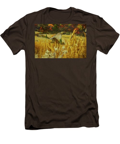 Men's T-Shirt (Slim Fit) featuring the digital art Bobwhite In Flight by Chris Flees