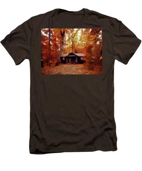 Men's T-Shirt (Slim Fit) featuring the painting Cabin In The Woods P D P by David Dehner