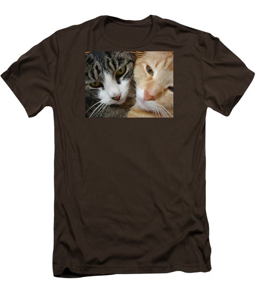 Men's T-Shirt (Slim Fit) featuring the digital art Cat Faces by Jana Russon