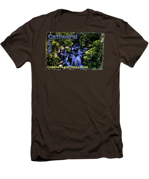 Cathedral Creek Cascade On The Tioga Pass Men's T-Shirt (Slim Fit) by Roger Passman