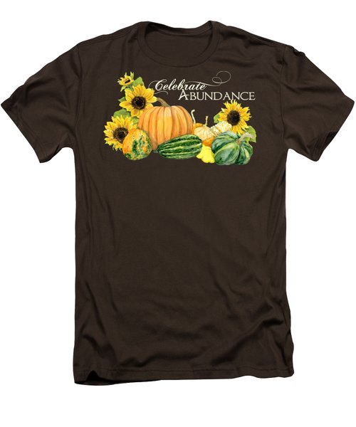 Celebrate Abundance - Harvest Fall Pumpkins Squash N Sunflowers Men's T-Shirt (Slim Fit) by Audrey Jeanne Roberts