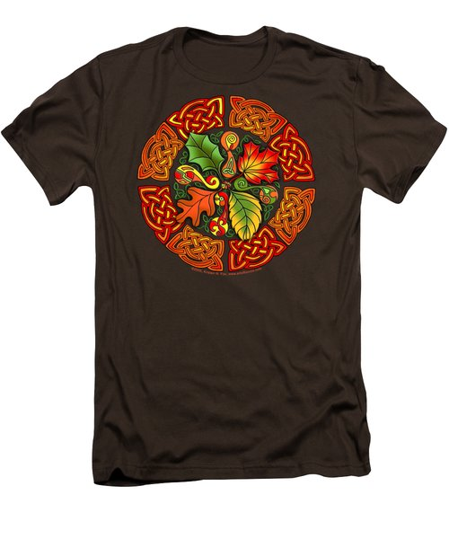 Men's T-Shirt (Slim Fit) featuring the mixed media Celtic Autumn Leaves by Kristen Fox