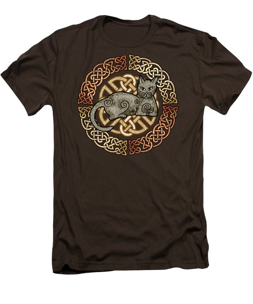 Men's T-Shirt (Slim Fit) featuring the mixed media Celtic Cat by Kristen Fox