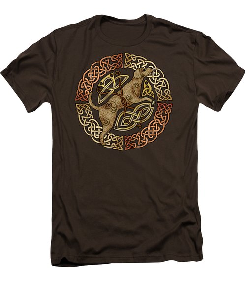 Men's T-Shirt (Slim Fit) featuring the mixed media Celtic Dog by Kristen Fox
