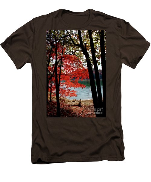 Men's T-Shirt (Slim Fit) featuring the photograph Cherokee Lake Color by Douglas Stucky