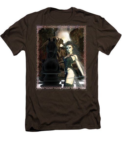 Chess 3d Fantasy Art Men's T-Shirt (Slim Fit) by Sharon and Renee Lozen