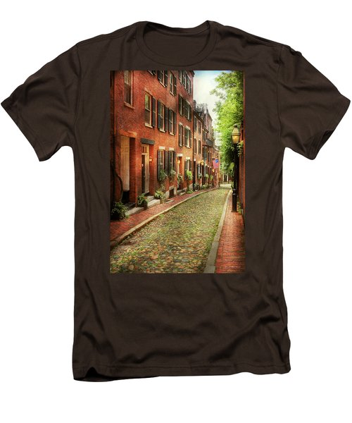 Men's T-Shirt (Slim Fit) featuring the photograph City - Boston Ma - Acorn Street by Mike Savad