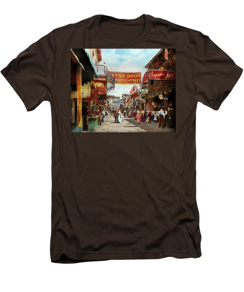 Men's T-Shirt (Slim Fit) featuring the photograph City - Coney Island Ny - Bowery Beer 1903 by Mike Savad