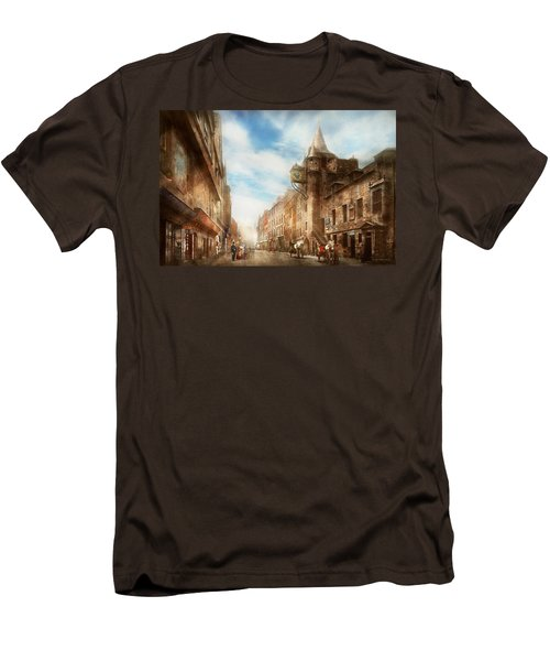 Men's T-Shirt (Slim Fit) featuring the photograph City - Scotland - Tolbooth Operator 1865 by Mike Savad