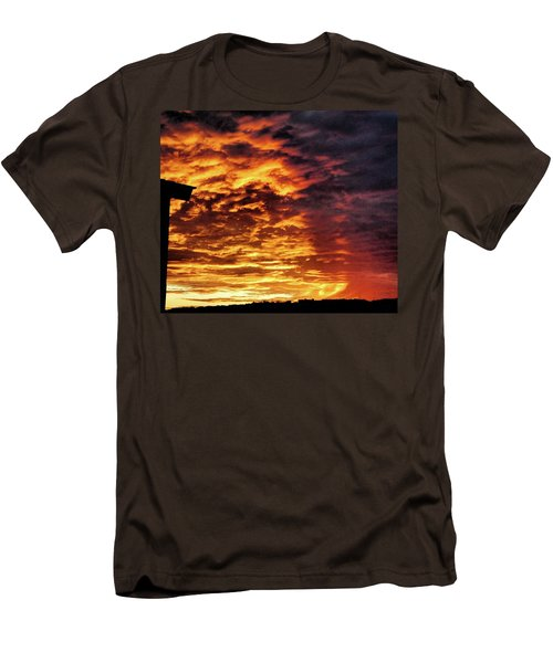 Men's T-Shirt (Slim Fit) featuring the painting December Austin Sunset  by Layne William LoMaglio