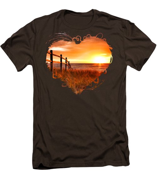 Door County Europe Bay Fence Sunrise Men's T-Shirt (Slim Fit) by Christopher Arndt