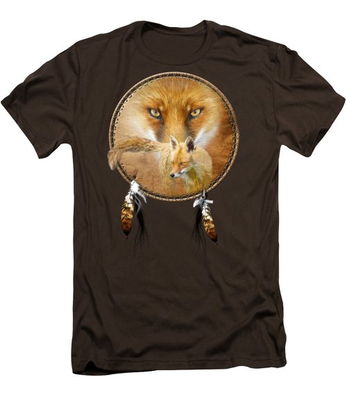 Dream Catcher- Spirit Of The Red Fox Men's T-Shirt (Slim Fit) by Carol Cavalaris