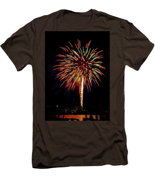 Men's T-Shirt (Slim Fit) featuring the photograph Fireworks by Bill Barber