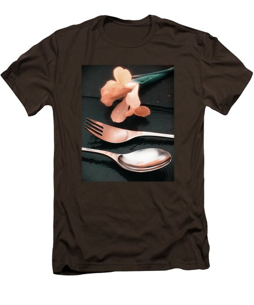Flowers On Slate Variation 4 Men's T-Shirt (Slim Fit) by Jon Delorme