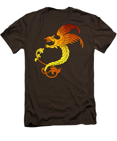 Griffin Griffon Gryphon In Flaming Colours Men's T-Shirt (Slim Fit) by Heidi De Leeuw