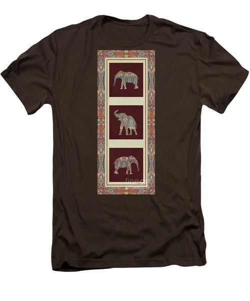 Kashmir Elephants - Vintage Style Patterned Tribal Boho Chic Art Men's T-Shirt (Slim Fit) by Audrey Jeanne Roberts