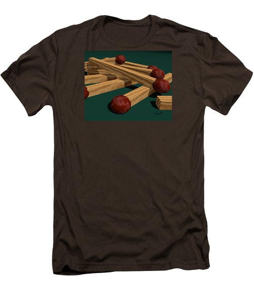 Men's T-Shirt (Slim Fit) featuring the digital art Matches by Walter Chamberlain