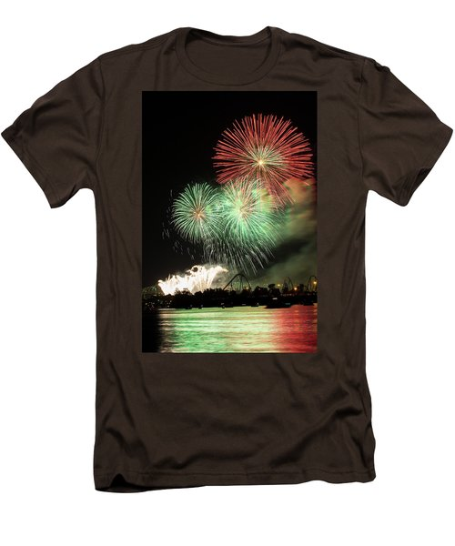 Montreal-fireworks Men's T-Shirt (Slim Fit) by Mircea Costina Photography