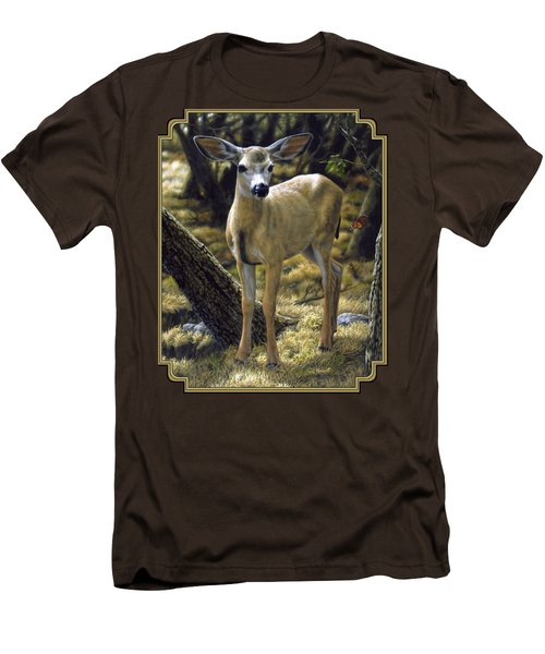 Mule Deer Fawn - Monarch Moment Men's T-Shirt (Slim Fit) by Crista Forest
