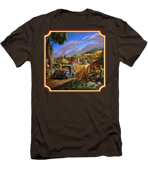Pumpkins Farm Folk Art Fall Landscape - Square Format Men's T-Shirt (Slim Fit) by Walt Curlee
