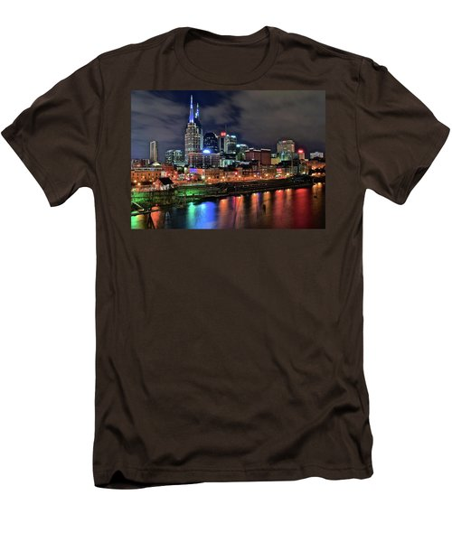 Rainbow On The River Men's T-Shirt (Slim Fit) by Frozen in Time Fine Art Photography