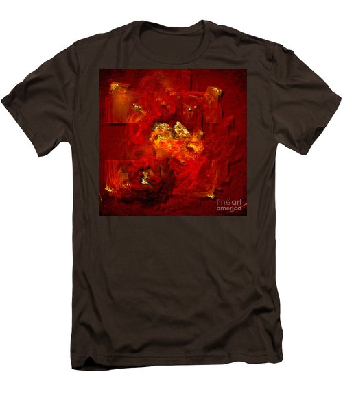 Men's T-Shirt (Slim Fit) featuring the painting Red And Gold by Alexa Szlavics