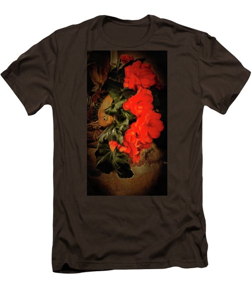 Men's T-Shirt (Slim Fit) featuring the photograph Red Begonias by Thom Zehrfeld