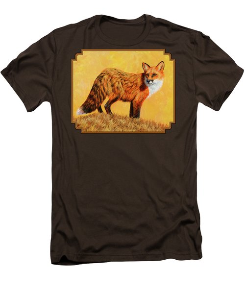 Red Fox Painting - Looking Back Men's T-Shirt (Slim Fit) by Crista Forest