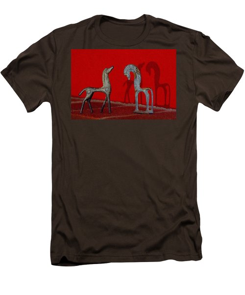 Men's T-Shirt (Slim Fit) featuring the digital art Red Wall Horse Statues by Jana Russon