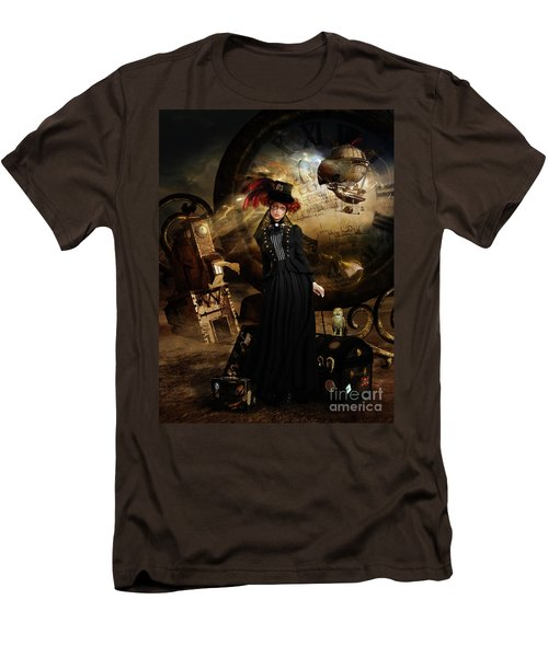 Men's T-Shirt (Slim Fit) featuring the digital art Steampunk Time Traveler by Shanina Conway