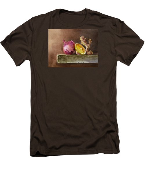 Still Life With Onion Lemon And Ginger Men's T-Shirt (Slim Fit) by Irina Sztukowski