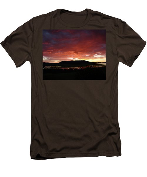 Men's T-Shirt (Slim Fit) featuring the painting Sunset Over Mormon Lake by Dennis Ciscel