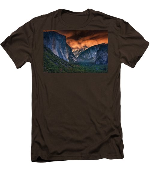 Sunset Skies Over Yosemite Valley Men's T-Shirt (Slim Fit) by Rick Berk