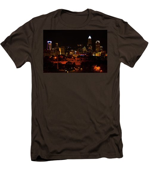 Men's T-Shirt (Slim Fit) featuring the digital art The City Of Charlotte Nc At Night by Chris Flees