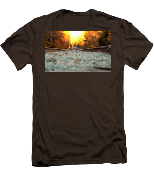 Men's T-Shirt (Slim Fit) featuring the digital art The Railroad Tracks From A New Perspective by Chris Flees