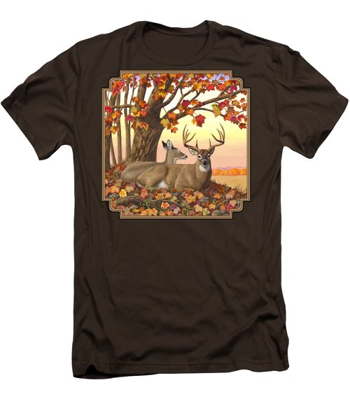 Whitetail Deer - Hilltop Retreat Men's T-Shirt (Slim Fit) by Crista Forest