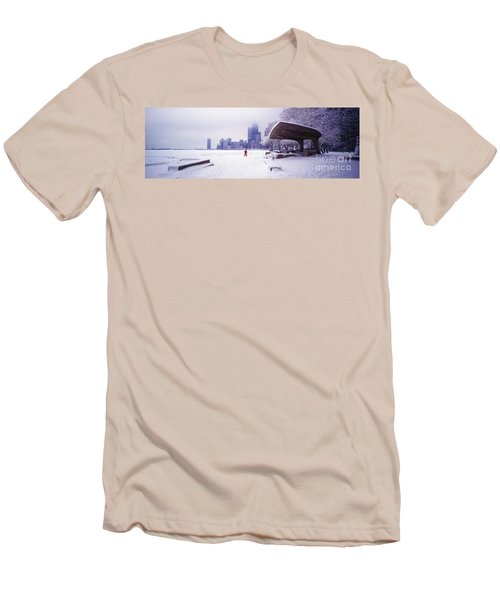 Men's T-Shirt (Slim Fit) featuring the photograph  North Ave Beach Chess Palv Chicago Lake Front  by Tom Jelen