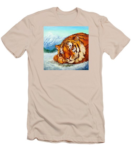 Men's T-Shirt (Slim Fit) featuring the painting  Tiger Sleeping In Snow by Bob and Nadine Johnston