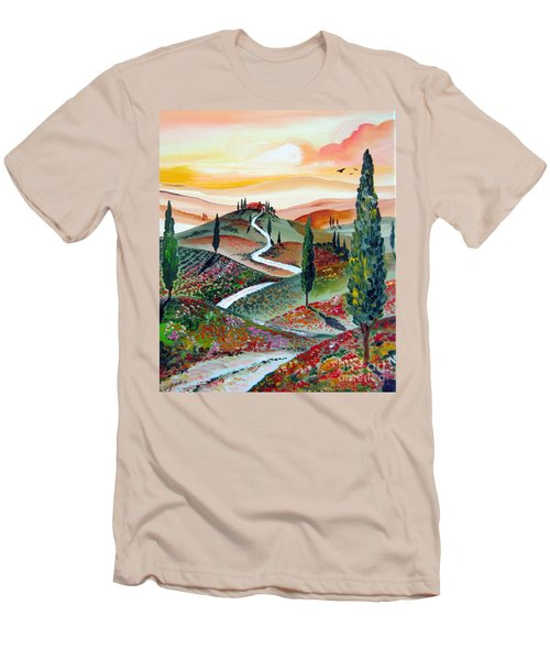 Winding Country Road Among The Hills Of Tuscany Men's T-Shirt (Slim Fit) by Roberto Gagliardi