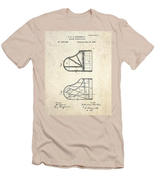 1878 Steinway Grand Piano Forte Patent Art S. 1 Men's T-Shirt (Slim Fit) by Gary Bodnar