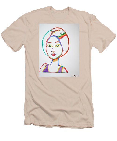 Men's T-Shirt (Slim Fit) featuring the painting Anime Asian Girl by Stormm Bradshaw