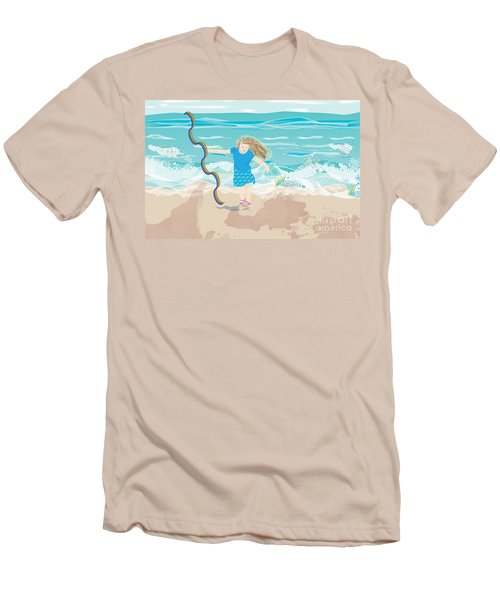 Men's T-Shirt (Slim Fit) featuring the digital art Beach Rainbow Girl by Kim Prowse