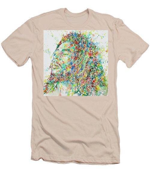Bob Marley Watercolor Portrait.1 Men's T-Shirt (Slim Fit)