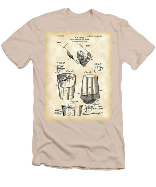 Cocktail Mixer And Strainer Patent 1902 - Vintage Men's T-Shirt (Slim Fit) by Stephen Younts