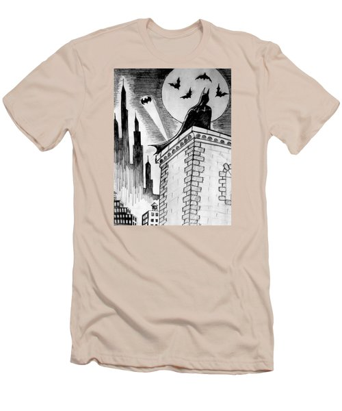 Men's T-Shirt (Slim Fit) featuring the painting Gotham  by Salman Ravish