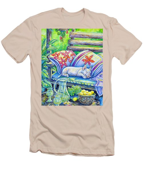 Pig On A Porch Men's T-Shirt (Slim Fit) by Gail Butler