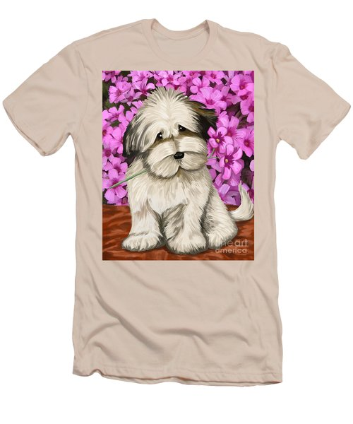 Men's T-Shirt (Slim Fit) featuring the painting Puppy In The Flowers by Tim Gilliland