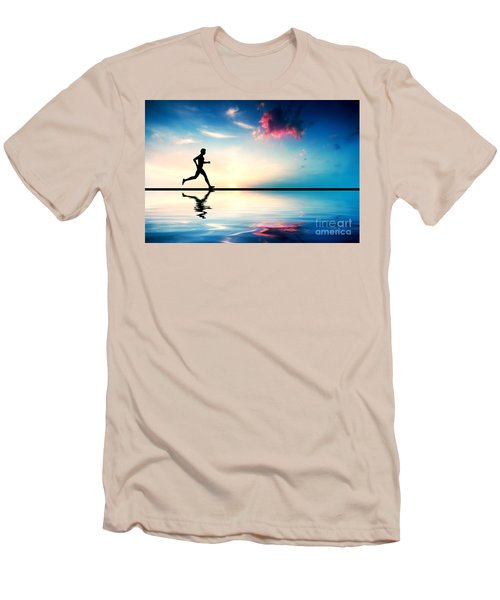 Silhouette Of Man Running At Sunset Men's T-Shirt (Athletic Fit)