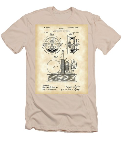 Tesla Electric Circuit Controller Patent 1897 - Vintage Men's T-Shirt (Athletic Fit)